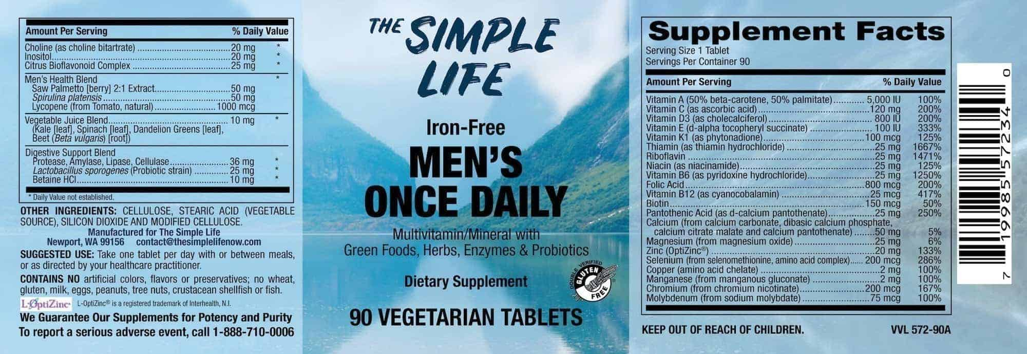 Mens Multivitamin Label