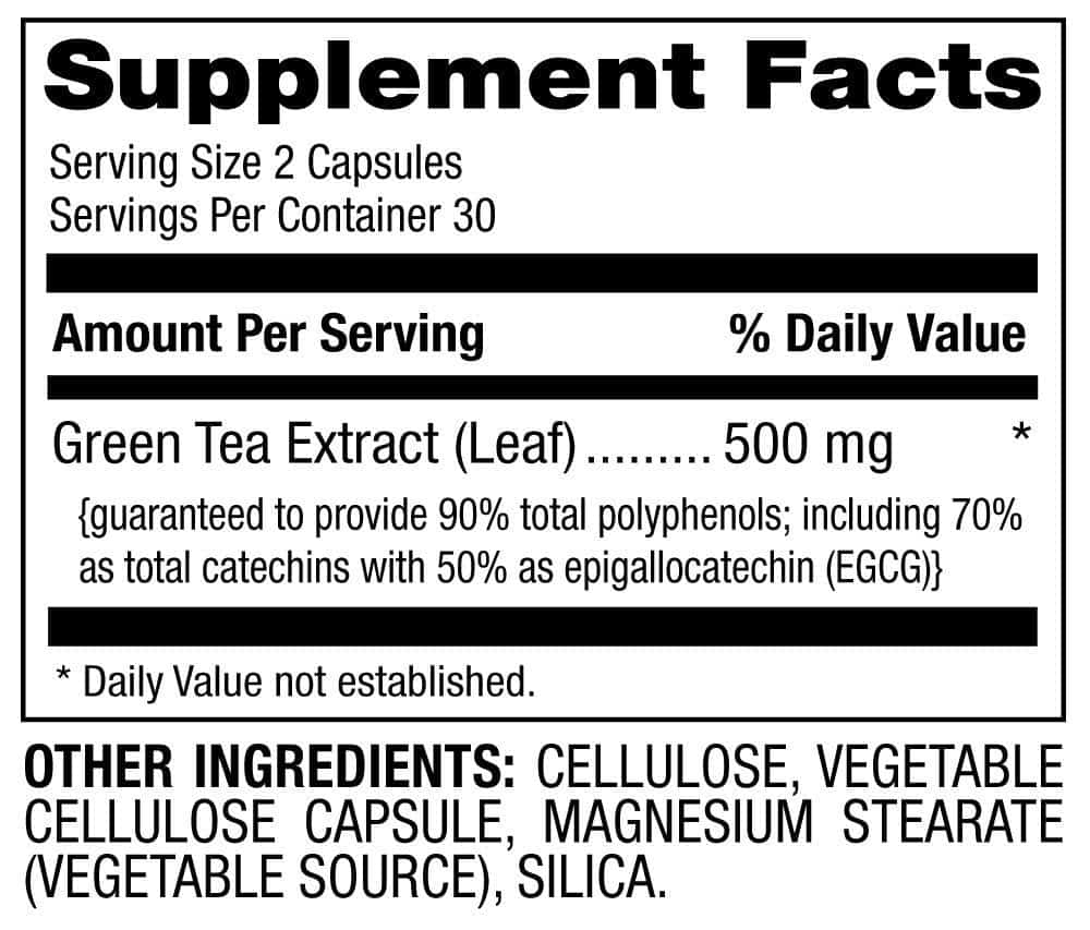 green tea extract supplement facts