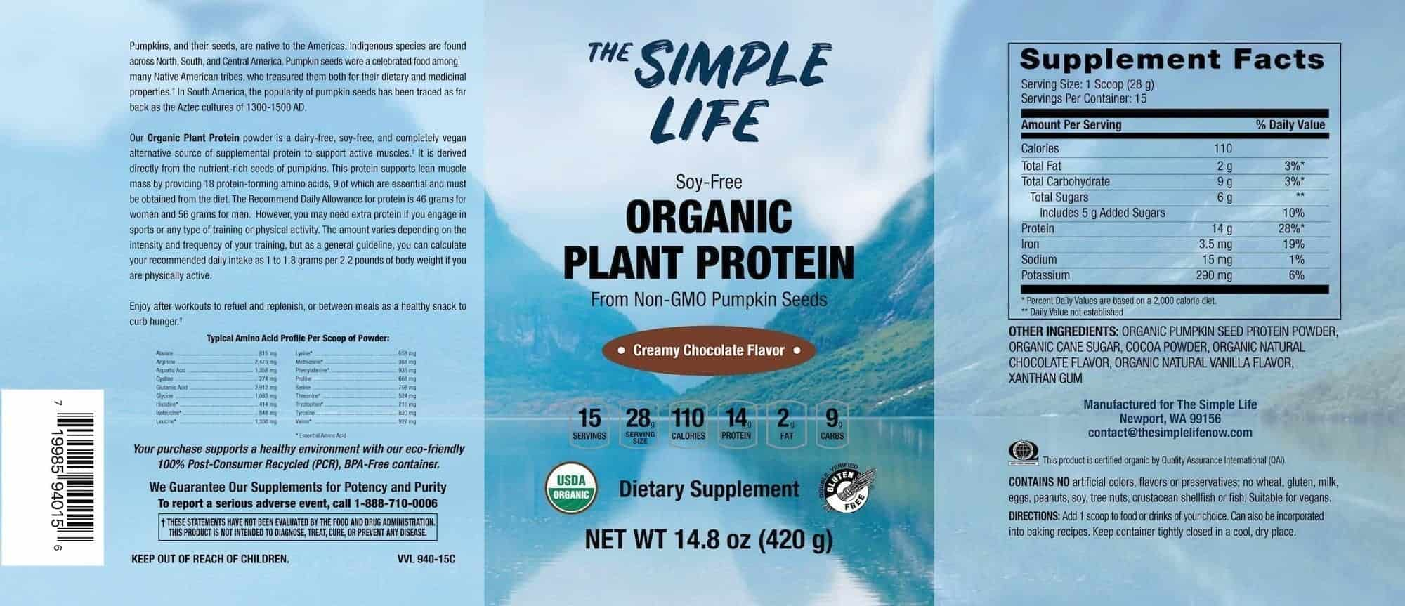 organic pumpkin protein powder label