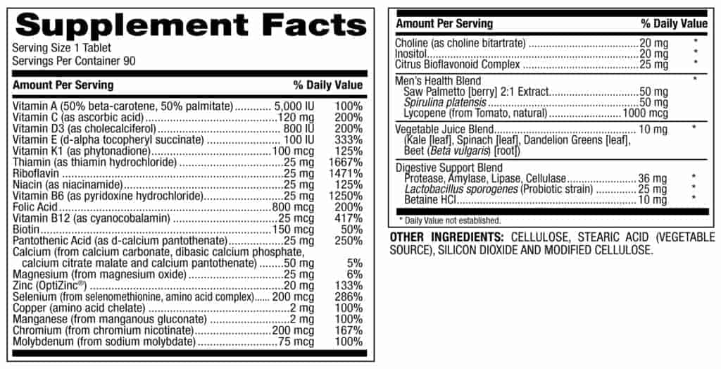 men's once daily multivitamin supplement facts