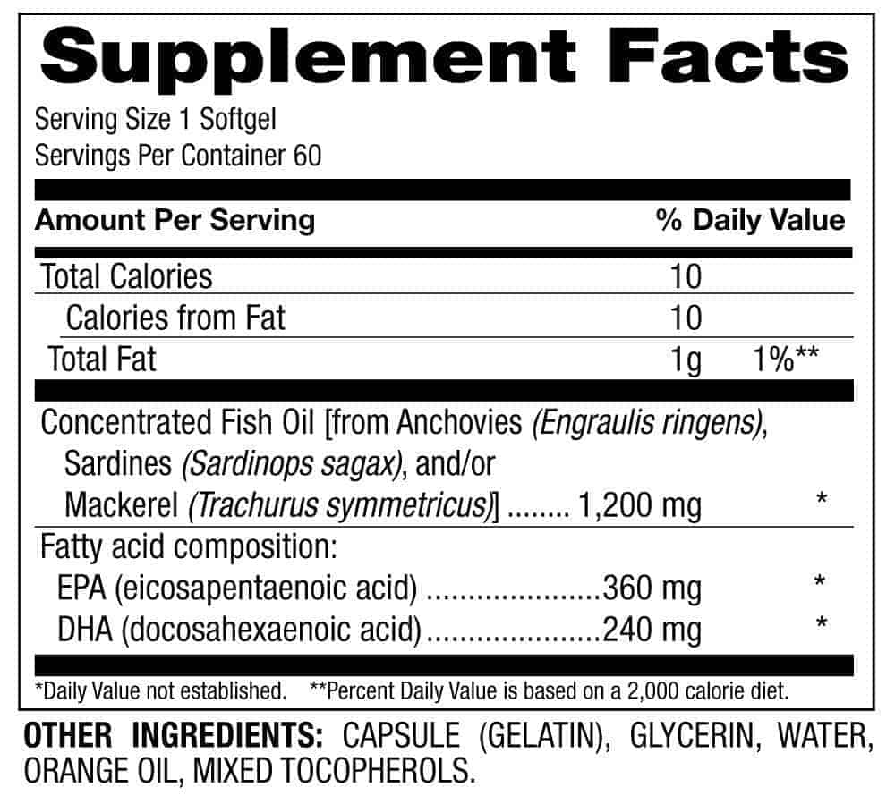 Omega 3 Supplement Facts