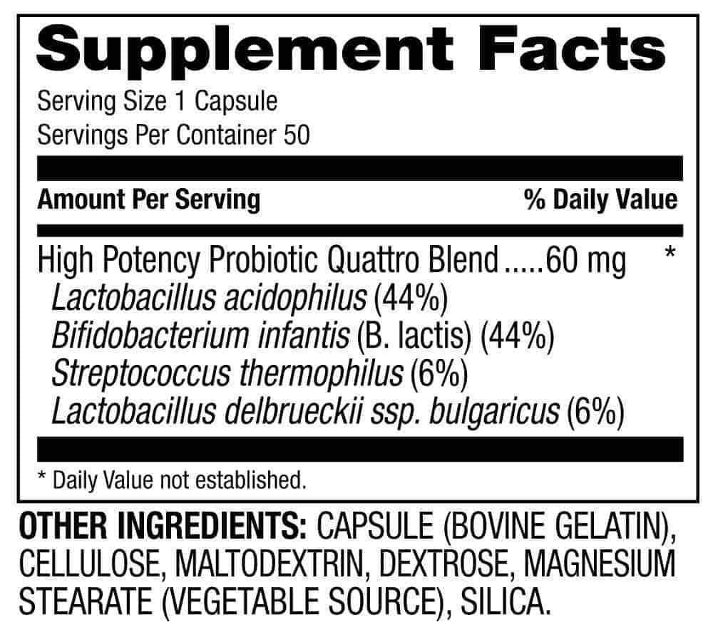 Probiotic Quattro Supplement Facts