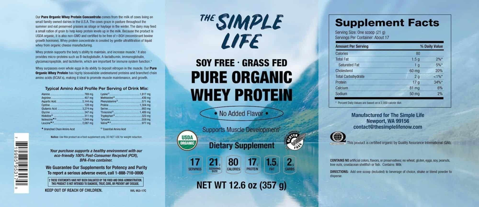 Organic Whey Label