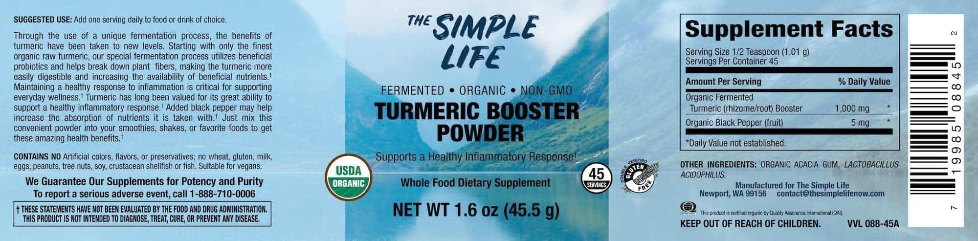 Organic Fermented Turmeric Powder Label