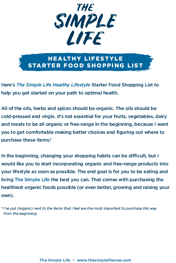 The Simple Life: Food Shopping List